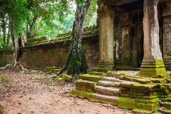 Ruins of Pra Khan Temple in Angkor Thom of Cambodia Stock Photos
