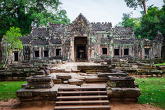 Ruins of Pra Khan Temple in Angkor Thom of Cambodia Royalty Free Stock Photography