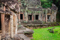 Ruins of Pra Khan Temple in Angkor Thom of Cambodia Stock Photography
