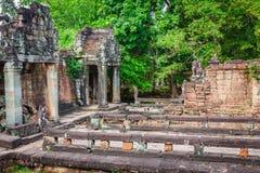 Ruins of Pra Khan Temple in Angkor Thom of Cambodia Stock Image