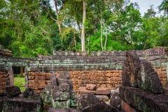 Ruins of Pra Khan Temple in Angkor Thom of Cambodia Royalty Free Stock Image