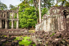 Ruins of Pra Khan Temple in Angkor Thom of Cambodia Royalty Free Stock Images