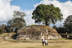 Ruins of the pre-hispanic Mayan town Iximche Stock Photo