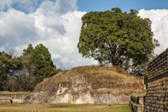 Ruins of the pre-hispanic Mayan town Iximche. Guatemala Royalty Free Stock Photo