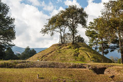 Ruins of the pre-hispanic Mayan town Iximche Royalty Free Stock Image