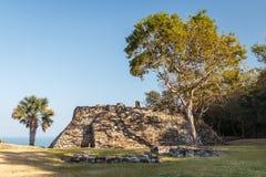 Ruins of the pre-hispanic town Quiahuiztlan, Veracruz state royalty free stock photography