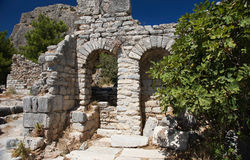 Ruins in Priene. The ruins of ancient Greek city Priene in Ionia Royalty Free Stock Photo