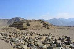 Ruins of a pyramid in Caral, Peru. Ruins of a pyramid of the Caral civilization, the oldest civilization of America, in Peru. This ruins are an UNESCO heritage royalty free stock photos