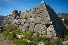 Ruins of Pyramid of Hellinikon near Kefalari on Peloponnese in Greece. Image of ruins of Pyramid of Hellinikon near Kefalari on Peloponnese in Greece royalty free stock photos