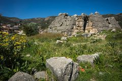Ruins of Pyramid of Hellinikon near Kefalari on Peloponnese in Greece. Image of ruins of Pyramid of Hellinikon near Kefalari on Peloponnese in Greece stock photos