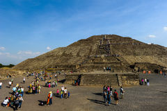 Ruins of the Pyramids of Pre-Columbian city Teotihuacan, Mexico Royalty Free Stock Images
