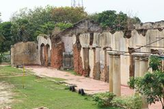 Ruins of the Queen`s House - Jaffna - Sri lanka. Ueen`s House was a former official residence of the President of Sri Lanka in Jaffna. A former Governor`s stock images