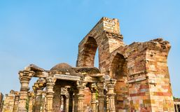 Ruins of Quwwat ul-Islam Mosque at the Qutb complex in Delhi, India. Ruins of Quwwat ul-Islam Mosque at the Qutb complex in Delhi. UNESCO world heritage in India Stock Photography
