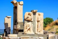 Ruins of reliefs in ancient city of Ephesus Royalty Free Stock Photography