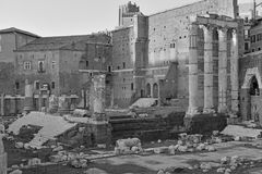 The ruins and remains of the Roman Forum in Rome. Italy Royalty Free Stock Photo