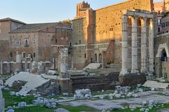 The ruins and remains of the Roman Forum in Rome. Italy Royalty Free Stock Image