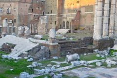 The ruins and remains of the Roman Forum in Rome. Italy Stock Images