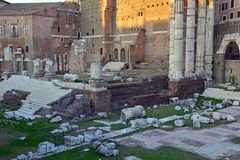 The ruins and remains of the Roman Forum in Rome. Italy Royalty Free Stock Images