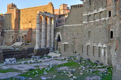 The ruins and remains of the Roman Forum in Rome. Italy Stock Photo