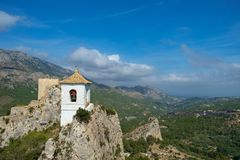 The Ruins and restored structures of Castillo de Guadalest, Spain Stock Image