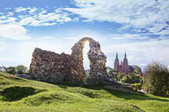 Ruins of the Rezekne Castle Hill, Latvia. Ruins of the Rezekne Castle Hill on the sunny day. Rezekne, Latvia royalty free stock images