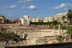The ruins of the Roman amphitheater in Alexandria Stock Photo