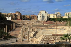 The ruins of the Roman amphitheater in Alexandria Royalty Free Stock Images