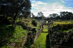 Ruins of the Roman amphitheater in Syracuse Neapolis Stock Photography