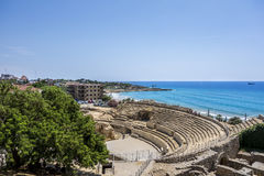 Ruins of roman amphitheater at Tarragona in Spain Stock Photography