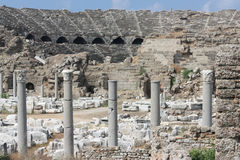 Ruins of the Roman amphitheatre. Ancient columns. Royalty Free Stock Photography