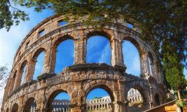 Ruins of Roman amphitheatre (Arena) in Pula. It was constructed. In 27 BC - 68 AD and is among six largest surviving Roman arenas in the World. Pula Arena is Royalty Free Stock Photography