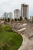 Ruins of the Roman amphitheatre in the centre of Durres Stock Photo