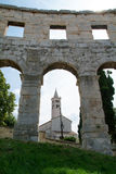 The ruins of Roman amphitheatre at Pula Stock Photos
