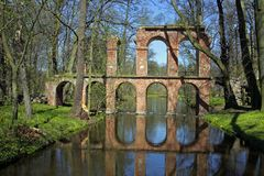 Ruins of Roman aqueduct. Antique roman aqueduct reflecting in a pool of water Stock Photo