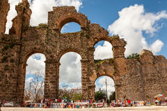 Ruins of Roman Aqueduct in Aspendos. Royalty Free Stock Photography
