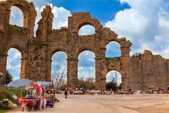 Ruins of Roman Aqueduct in Aspendos. Stock Image