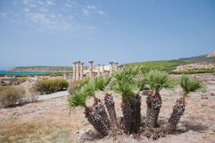 Ruins Roman of Baelo Claudia in Bolonia beach Royalty Free Stock Image