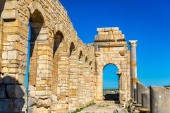 Ruins of a roman basilica at Volubilis, Morocco Royalty Free Stock Photos