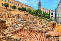 Ruins of the Roman Baths in Beirut, Lebanon stock images