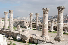 Ruins of the Roman Citadel in Amman Stock Images