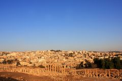 Jerash city, Jordan. Ruins of the Roman city of Gerasa, Jerash, Jordan Royalty Free Stock Photography