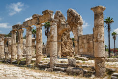 Ruins of the Roman city in Tyre. Lebanon royalty free stock images