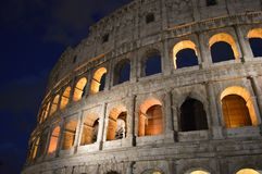 Bright lights that accompany the Roman Colosseum royalty free stock image