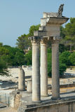 Ruins of Roman columns in Glanum (France) Royalty Free Stock Photo