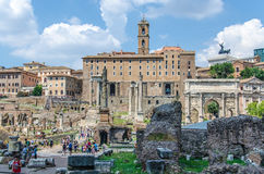 Ruins of Roman Forum Stock Photos