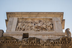 The Ruins of the Roman Forum. The Arch of Constantine close up Royalty Free Stock Photography