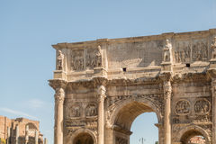 The Ruins of the Roman Forum. The Arch of Constantine close up Royalty Free Stock Photos