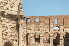 The Ruins of the Roman Forum. The Arch of Constantine overlooks the Coliseum Royalty Free Stock Images