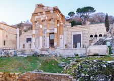 The ruins of the Roman Forum in Brescia in the center of the anc. The ruins of the Capitolium or Temple of the Capitoline Triad in Brescia, in the center of the Royalty Free Stock Photos