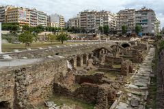 Ruins of Roman Forum in the center of city of Thessaloniki, Central Macedonia, Greece Stock Photos